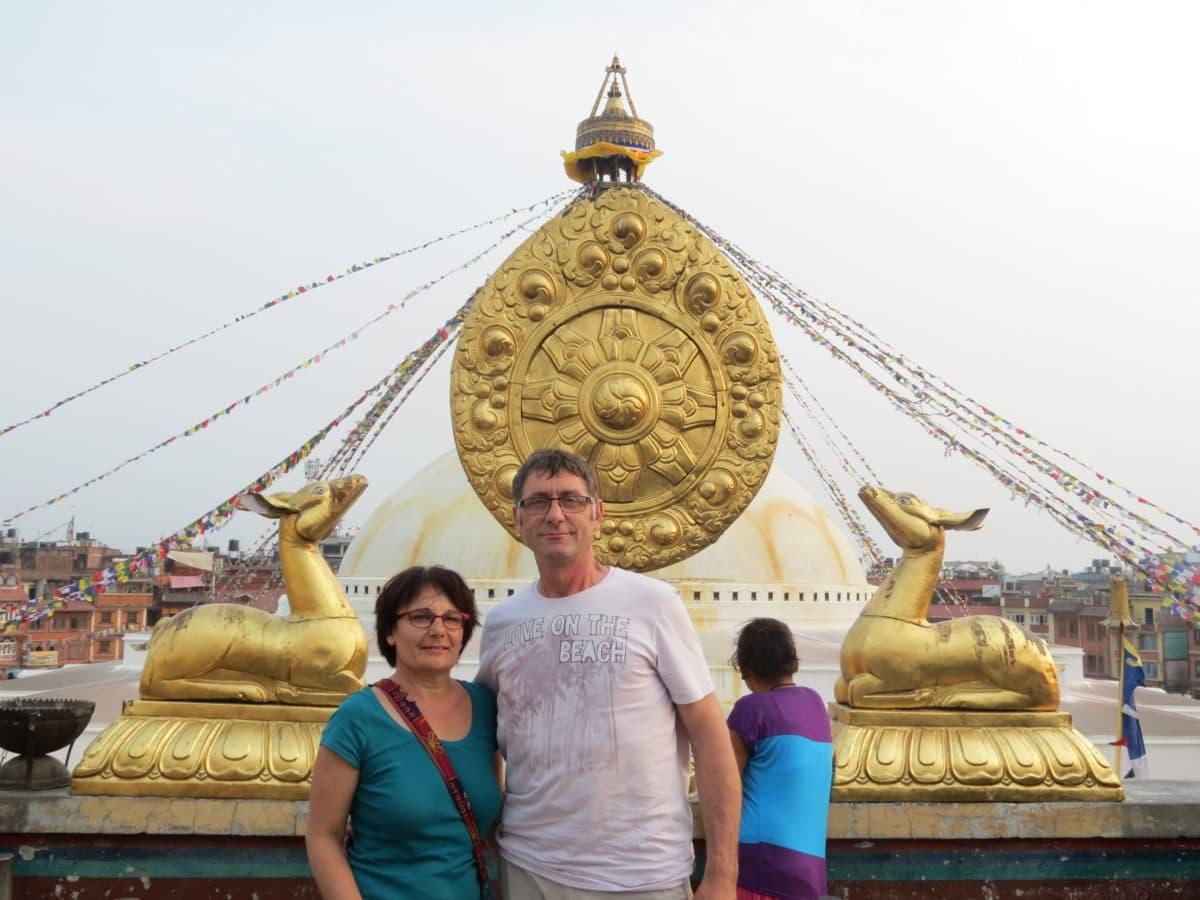 M. et Mme Houal durant leur voyage au Népal